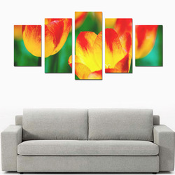 tulip flower flora red yellow green color spring Canvas Print Sets D (No Frame)