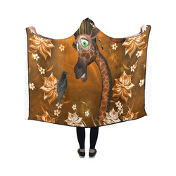 Funny giraffe with feathers Hooded Blanket 50''x40''