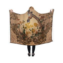 Sweet giraffe with bird Hooded Blanket 50''x40''