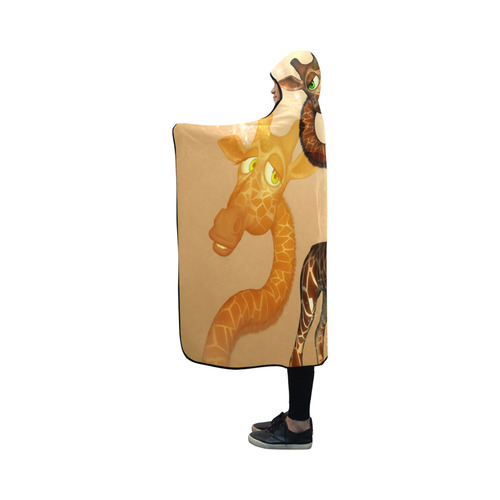 Cute unicorn giraffe Hooded Blanket 50''x40''