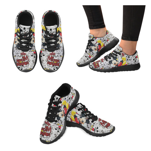 5cc6d9b5222e mickey mouse shoe black off Women s Running Shoes (Model 020)
