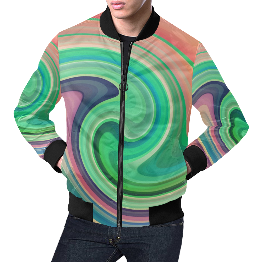 Wave by Artdream All Over Print Bomber Jacket for Men (Model H19)