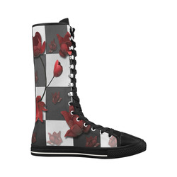 Burnt Crimson Flora Canvas Long Boots For Women Model 7013H
