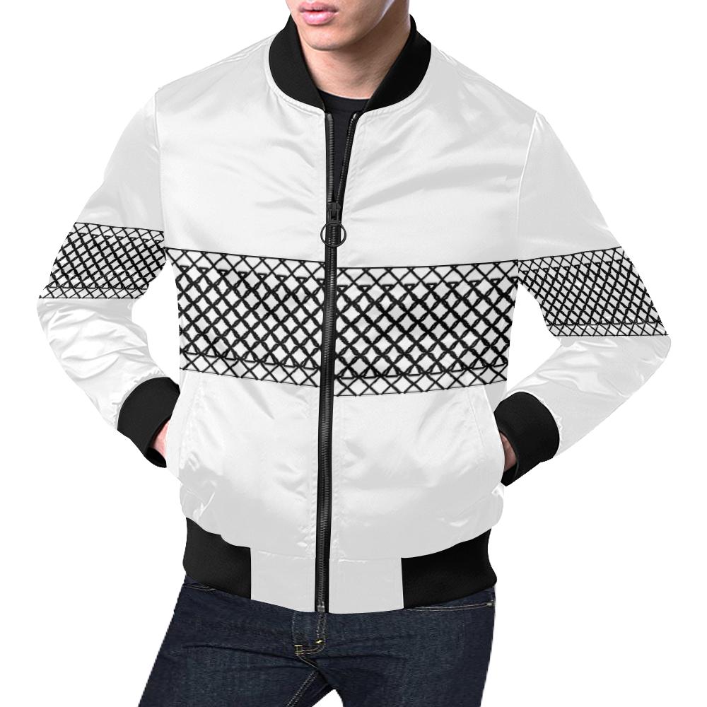 Middi White All Over Print Bomber Jacket for Men (Model H19)