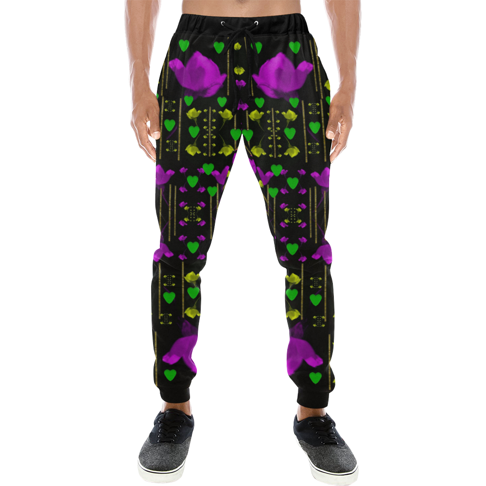 pure roses in the rose garden of love Men's All Over Print Sweatpants (Model L11)