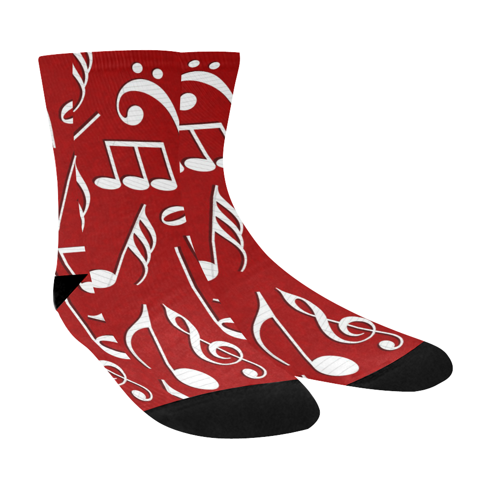 Music Notes on Red Crew Socks