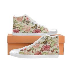 Watercolor Vintage Flowers Butterflies Lace 1 High Top Canvas Women's Shoes/Large Size (Model 002)