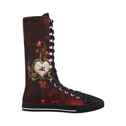 Wonderful heart with dove Canvas Long Boots For Women Model 7013H