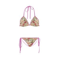 Watercolor Vintage Flowers Butterflies Lace 1 Custom Bikini Swimsuit