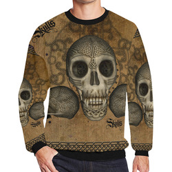 Awesome skull with celtic knot Men's Oversized Fleece Crew Sweatshirt (Model H18)