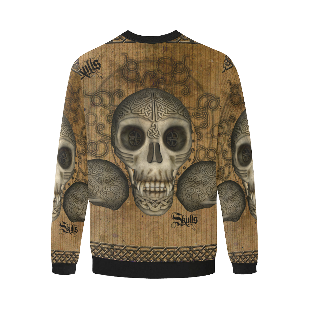 Awesome skull with celtic knot Men's Oversized Fleece Crew Sweatshirt/Large Size(Model H18)