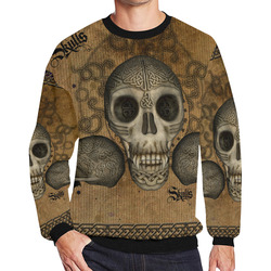 Awesome skull with celtic knot Men's Oversized Fleece Crew Sweatshirt/Large Size(Model H18)