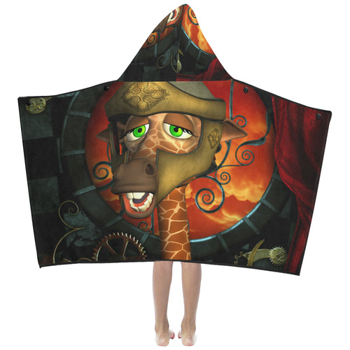 Funny giraffe with helmet Kids' Hooded Bath Towels