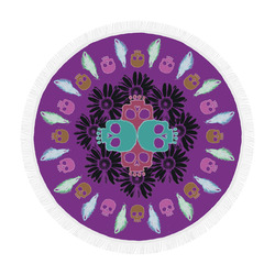 "Pushing Daisies Purple Circular Beach Shawl 59""x 59"""