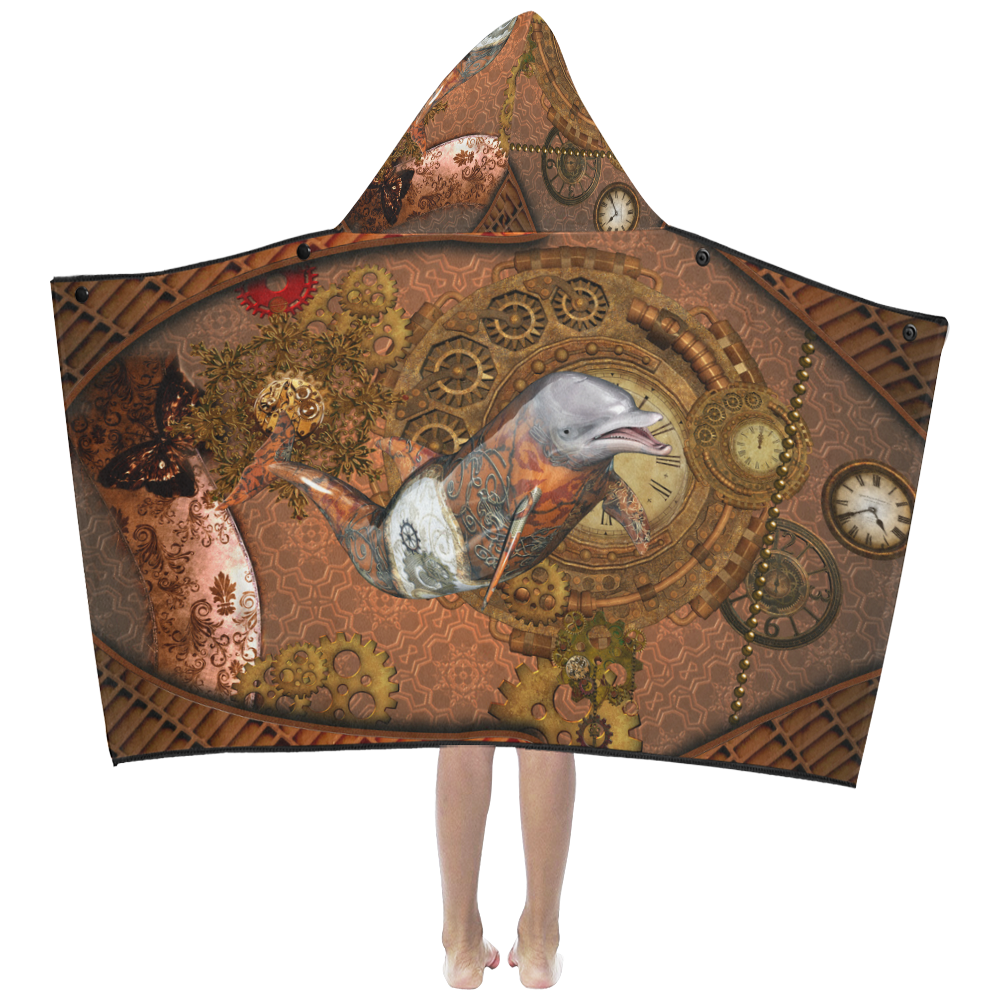 Funny steampunk dolphin, clocks and gears Kids' Hooded Bath Towels