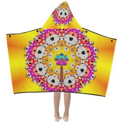 Fantasy flower in tones Kids' Hooded Bath Towels