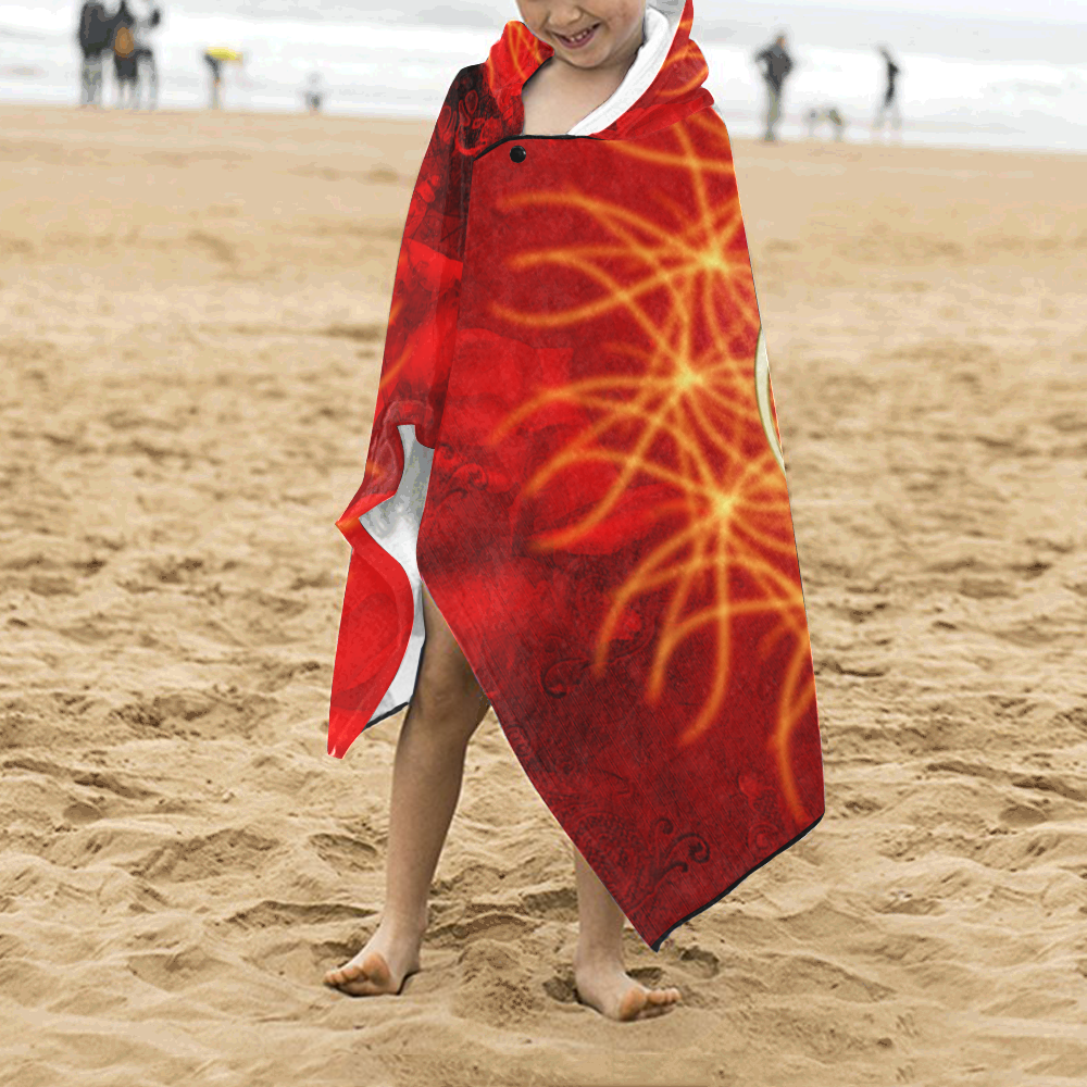 Awesome chinese dragon, gold Kids' Hooded Bath Towels