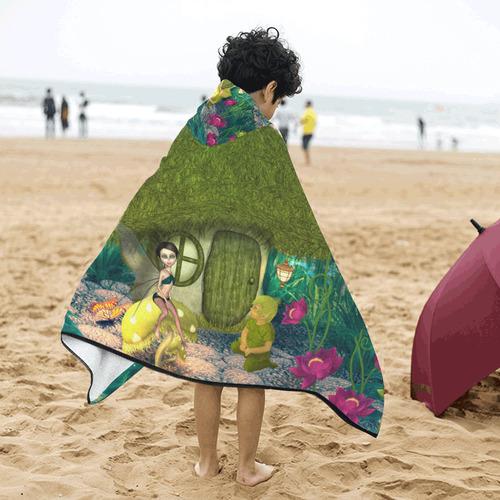 Cute fairy in the fantasy world Kids' Hooded Bath Towels