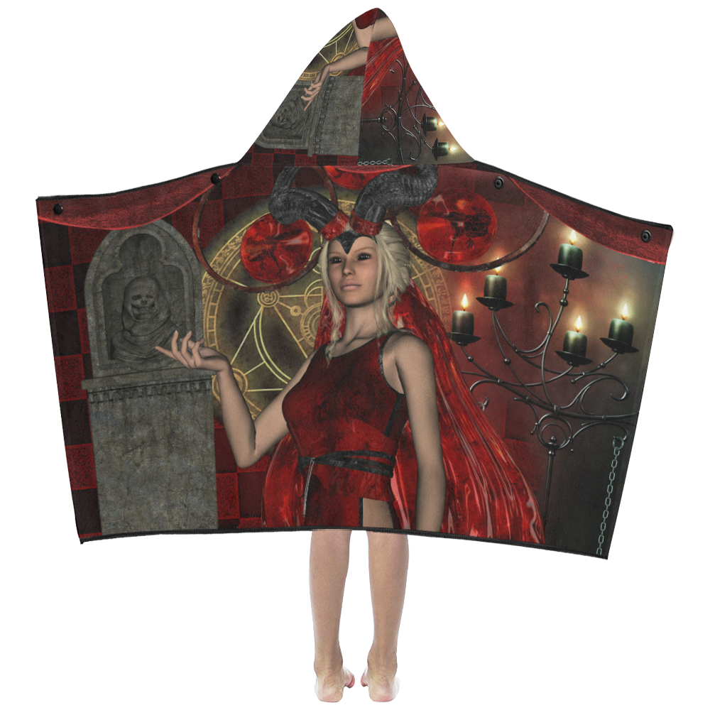 Wonderful dark fairy with candle light Kids' Hooded Bath Towels