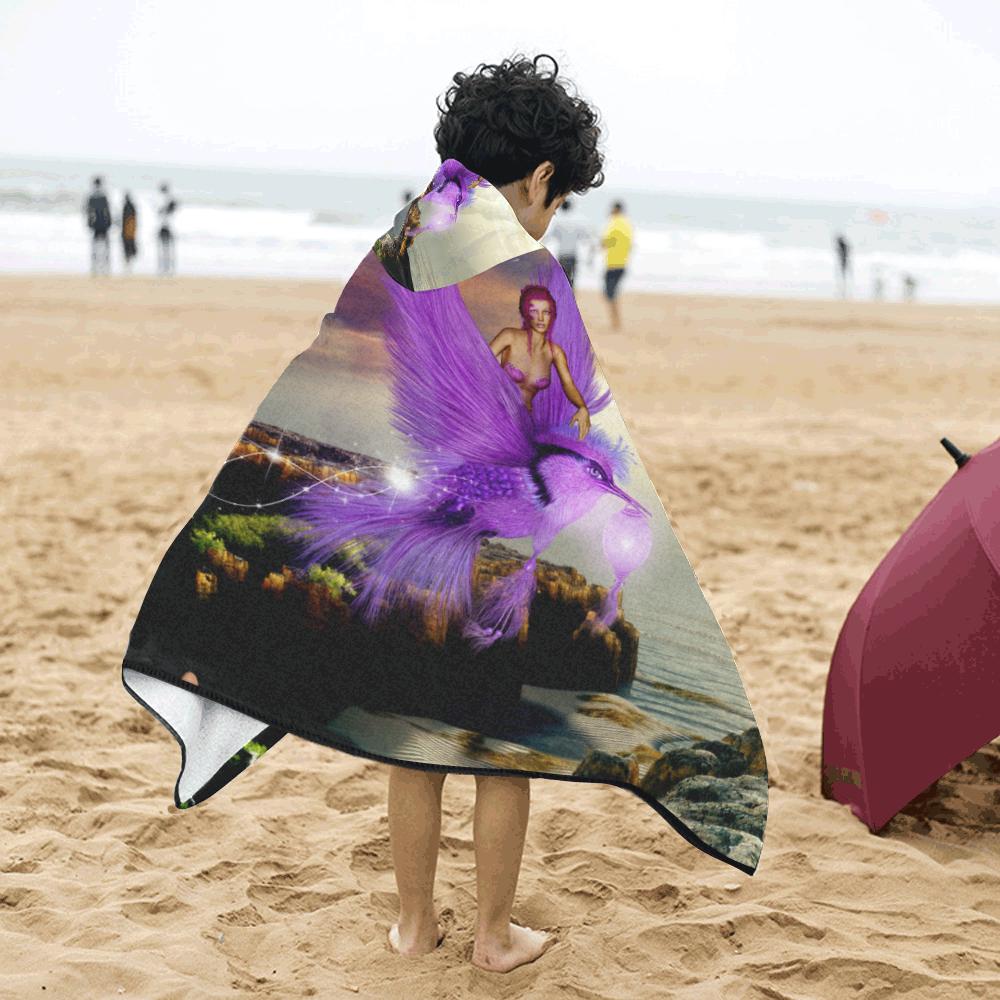 Wonderful fairy with bird Kids' Hooded Bath Towels