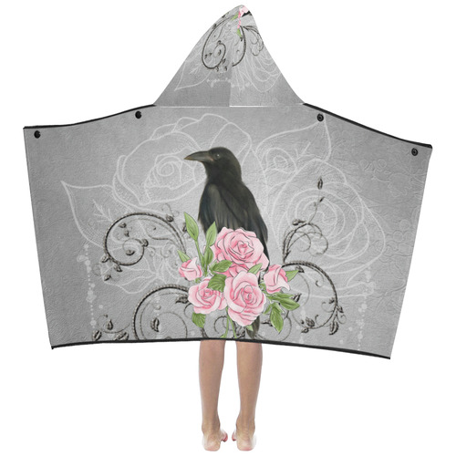 The crow with roses Kids' Hooded Bath Towels