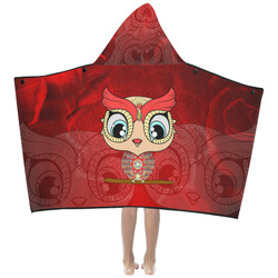 Cute owl, mandala design colorful Kids' Hooded Bath Towels
