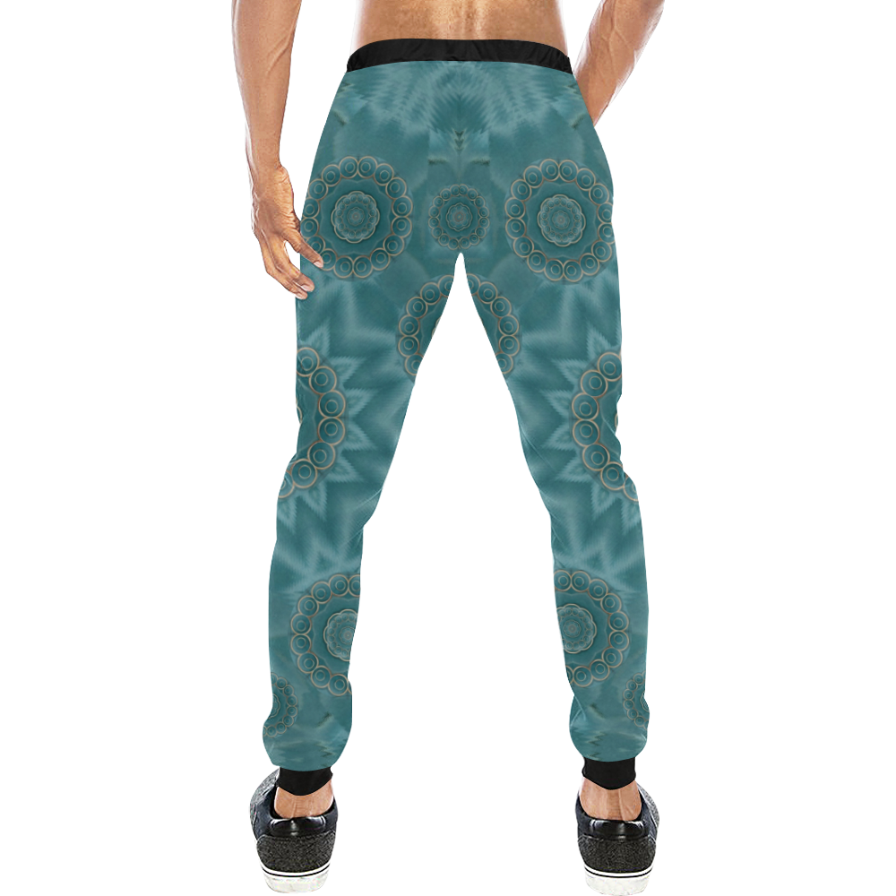 Wood and stars in the blue pop art Men's All Over Print Sweatpants (Model L11)
