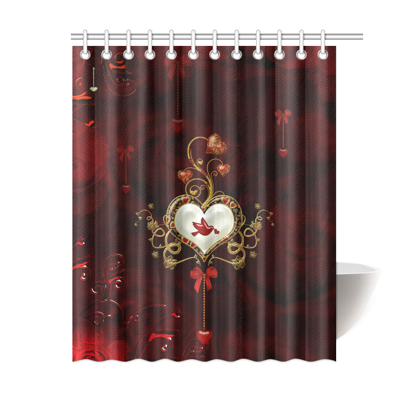 """Wonderful heart with dove Shower Curtain 60""""x72"""""""