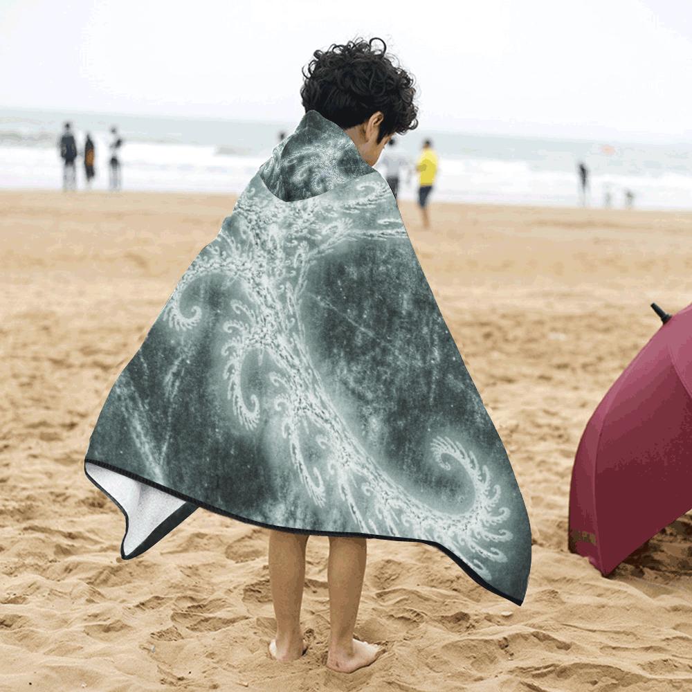 White Spiral Fractal Kids' Hooded Bath Towels