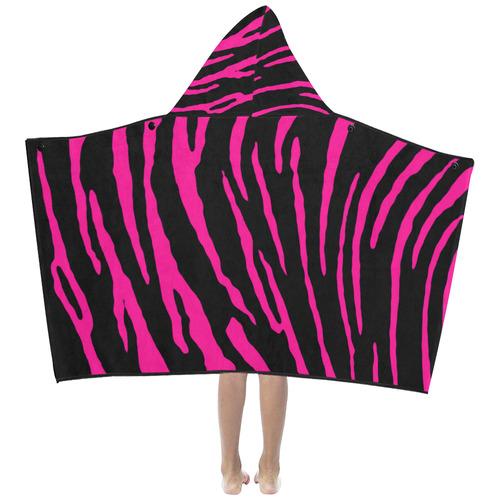 Pink Tiger Stripes Kids' Hooded Bath Towels