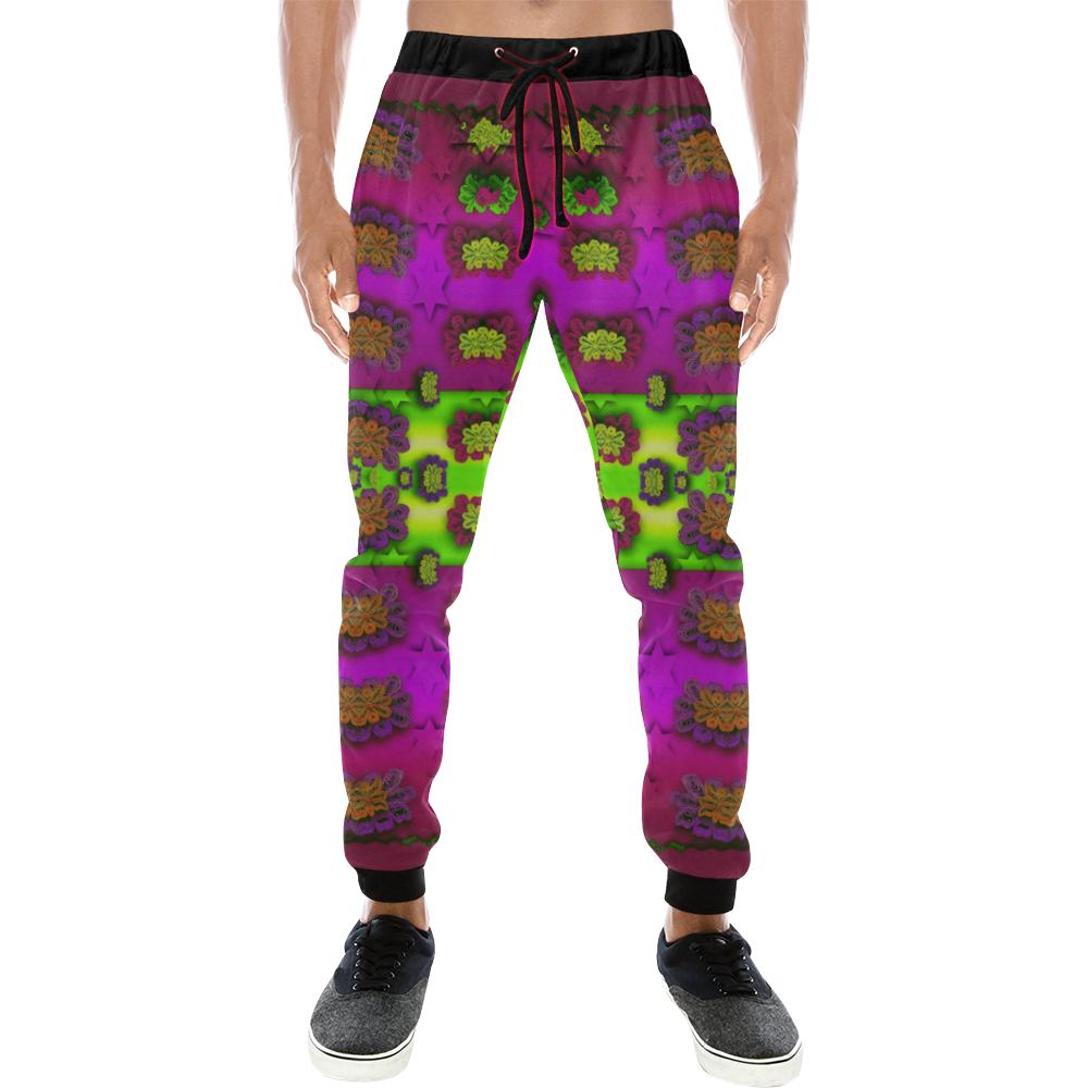 Heavy metal and rainbow stars Men's All Over Print Sweatpants (Model L11)