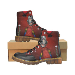 Funny, cute parrot Apache Round Toe Men's Winter Boots (Model 1402)