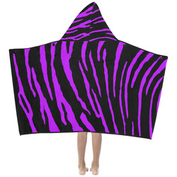 Purple Tiger Stripes Kids' Hooded Bath Towels