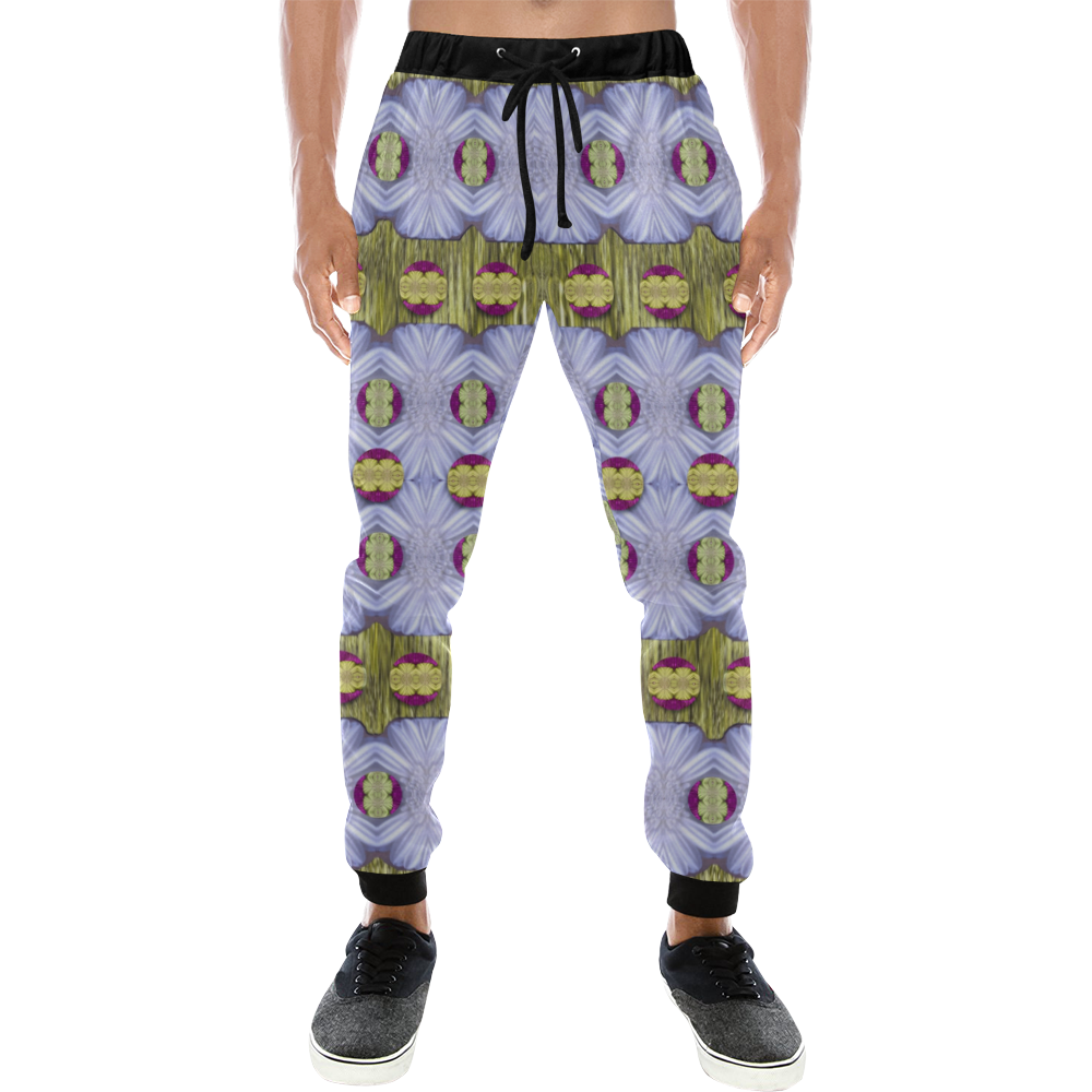 Soul Flowers in Gold and Shimmer Men's All Over Print Sweatpants (Model L11)