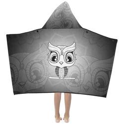 Cute owl, mandala design black and white Kids' Hooded Bath Towels