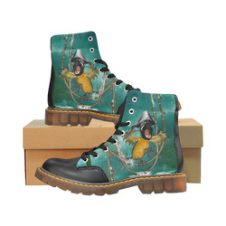 Funny pirate parrot Apache Round Toe Men's Winter Boots (Model 1402)