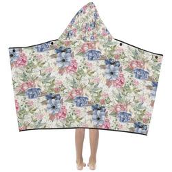 Watercolor Vintage Flowers Pattern 01 Kids' Hooded Bath Towels
