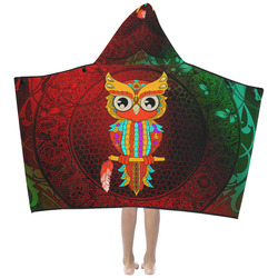 Cute owl, mandala design Kids' Hooded Bath Towels