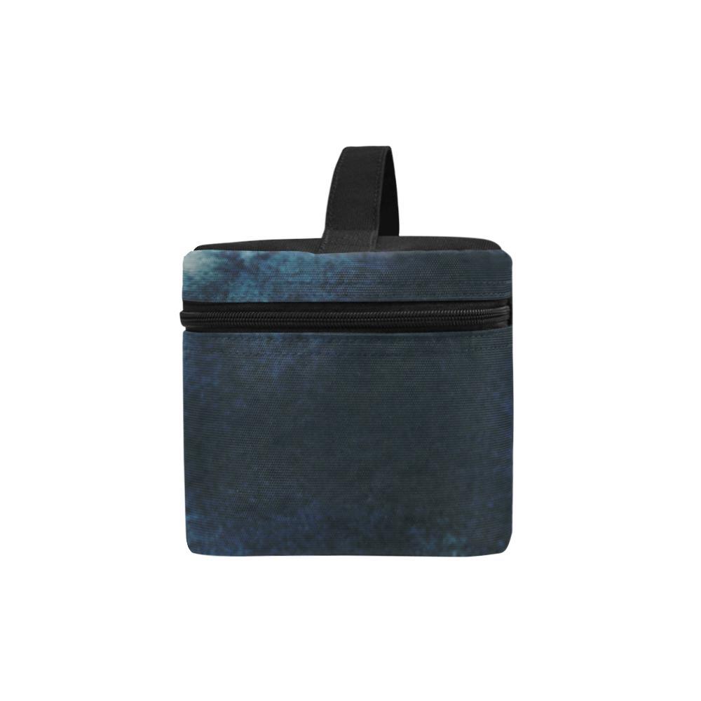 Modern Blue Watercolor Storm Cosmetic Bag/Large (Model 1658)