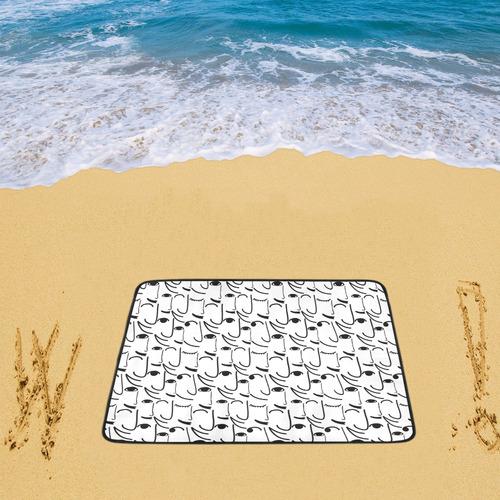 """Doodle Art Smiling Side Faces Beach Mat 78""""x 60"""""""