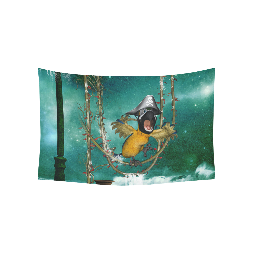 "Funny pirate parrot Cotton Linen Wall Tapestry 60""x 40"""