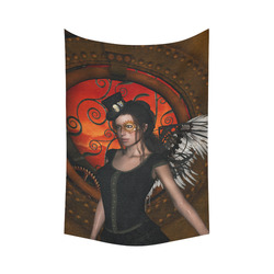 """Steampunk lady with steampunk wings Cotton Linen Wall Tapestry 60""""x 90"""""""