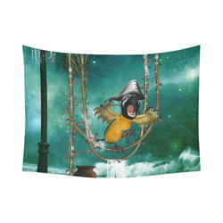 "Funny pirate parrot Cotton Linen Wall Tapestry 80""x 60"""