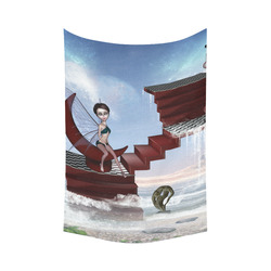"""Cute fairy sitting on the moon Cotton Linen Wall Tapestry 60""""x 90"""""""