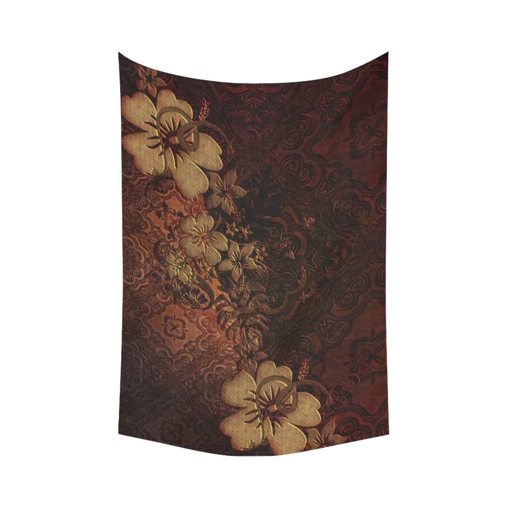 """Floral design, vintage Cotton Linen Wall Tapestry 90""""x 60"""""""