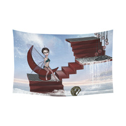 "Cute fairy sitting on the moon Cotton Linen Wall Tapestry 90""x 60"""
