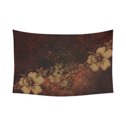 "Floral design, vintage Cotton Linen Wall Tapestry 90""x 60"""