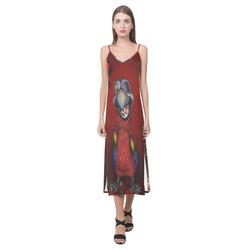 Funny, cute parrot V-Neck Open Fork Long Dress(Model D18)