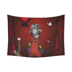 "Funny, cute parrot Cotton Linen Wall Tapestry 80""x 60"""