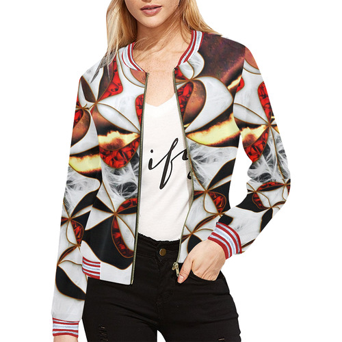 Mindworks Collage #4 All Over Print Bomber Jacket for Women (Model H21)